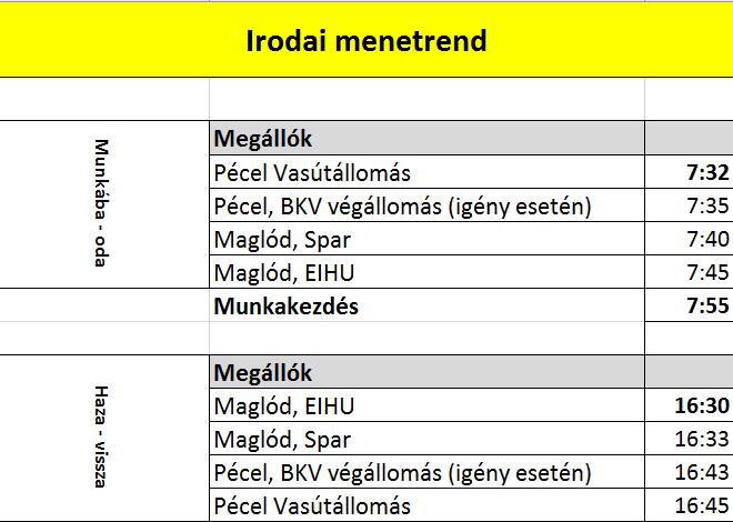 Irodai menetrend